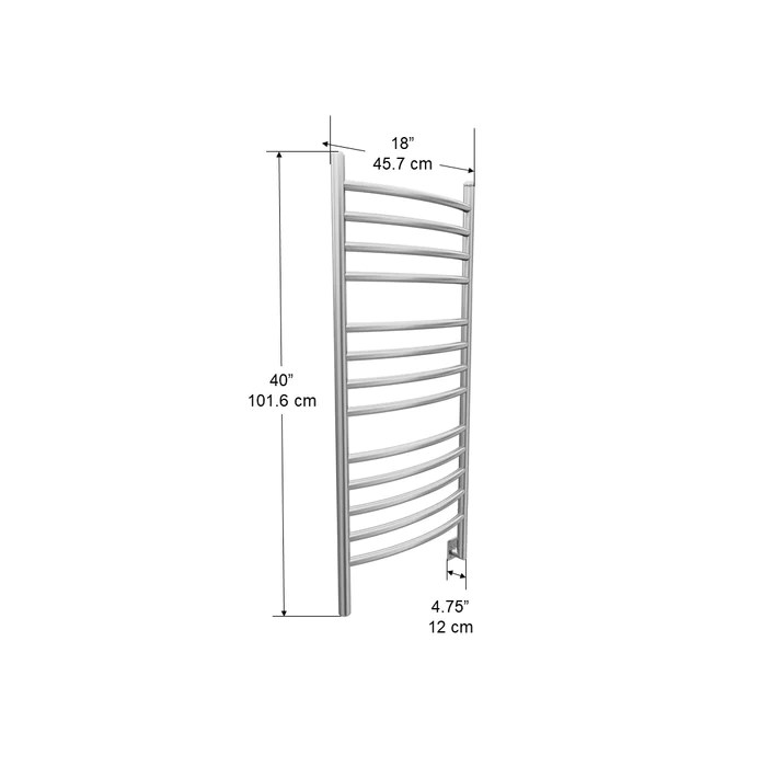 svelte rounded 40 in hardwired electric towel warmer and drying rack in brushed stainless steel