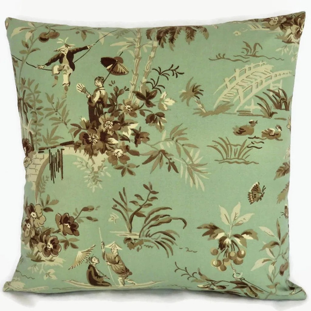 jade green toile pillow cover waverly polynesian swing 17 asian scenic print