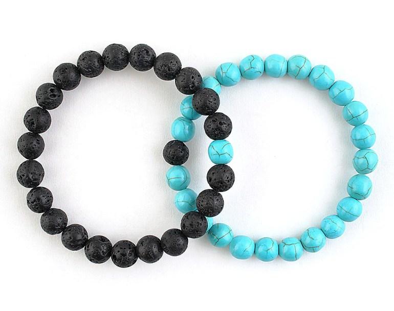 blue turquoise and black lava relationship bracelets