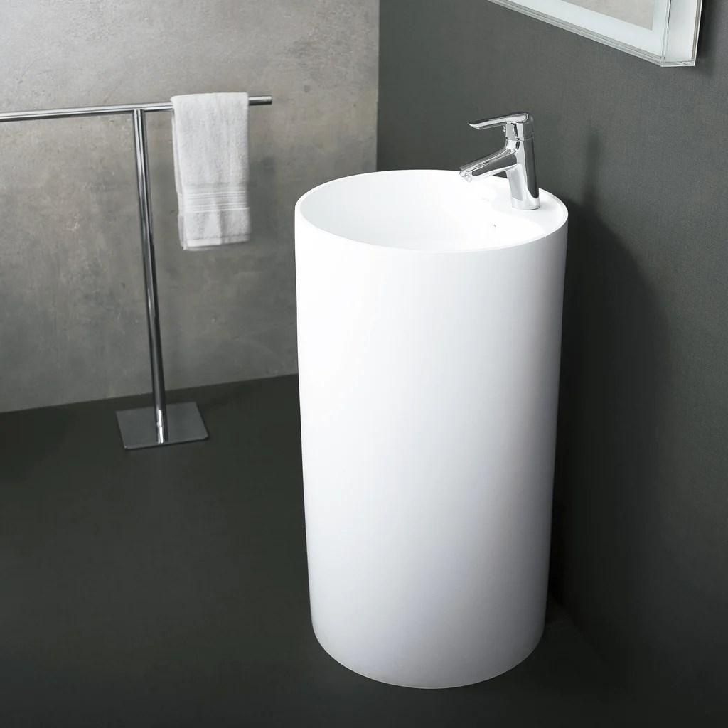 https daxib com products dax solid surface round pedestal freestanding bathroom sink white finish 17 3 4 x 17 3 4 x 35 7 16 inches dax ab 1380