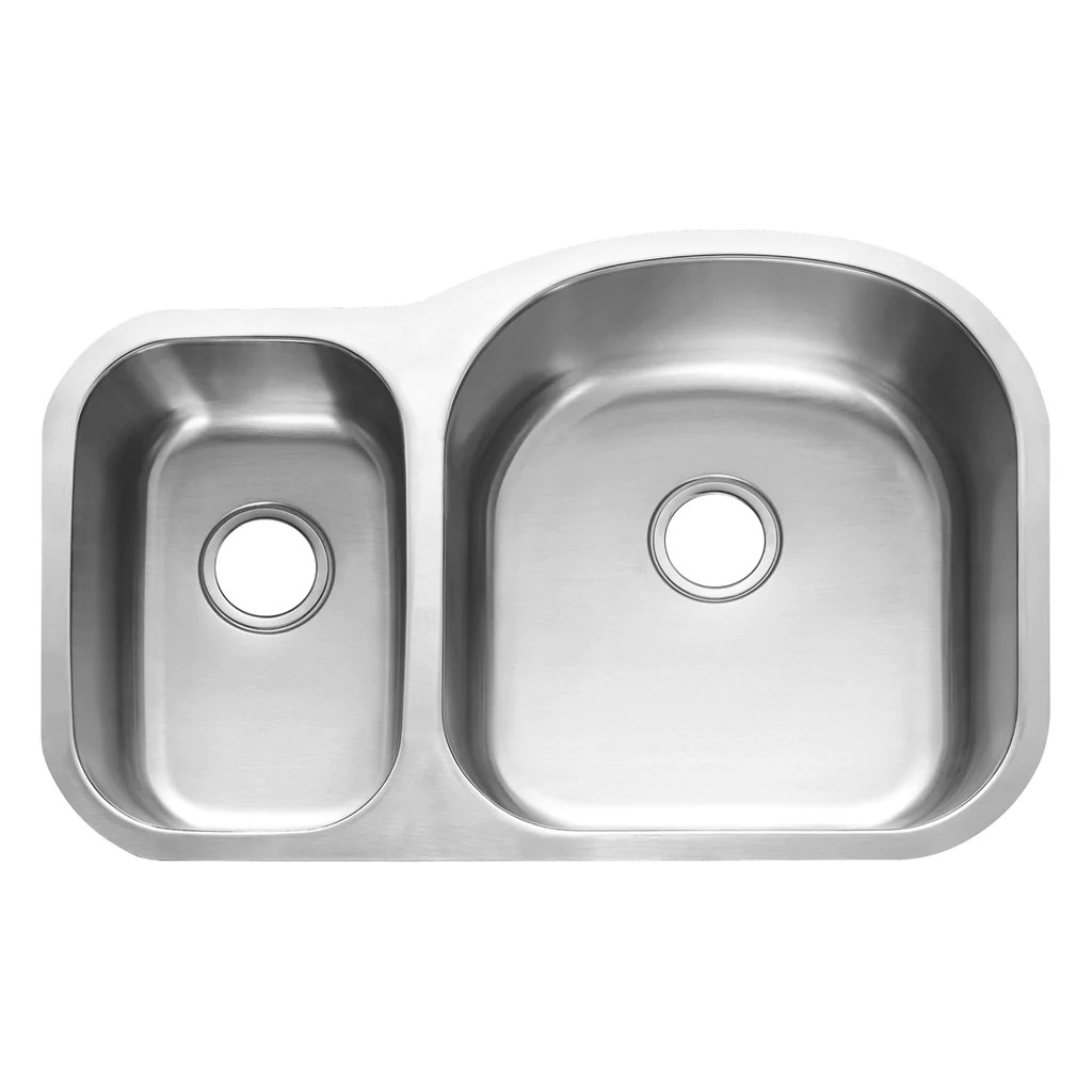 dax 30 70 double bowl undermount kitchen sink 18 gauge stainless steel brushed finish 31 1 2 x 20 1 2 x 9 inches dax 3121r