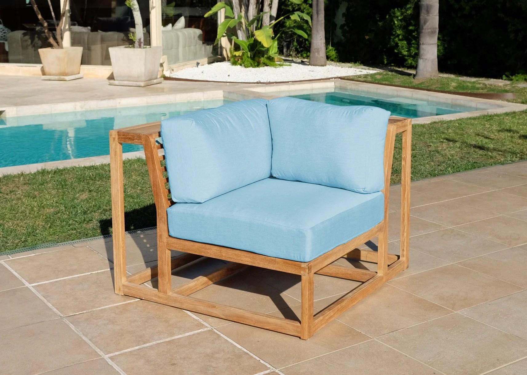 laguna teak outdoor corner chair sunbrella cushion