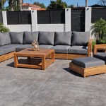 Teak Outdoor Lounge Set Outdoor Deep Seating Sunbrella Cushion Willow Creek Designs