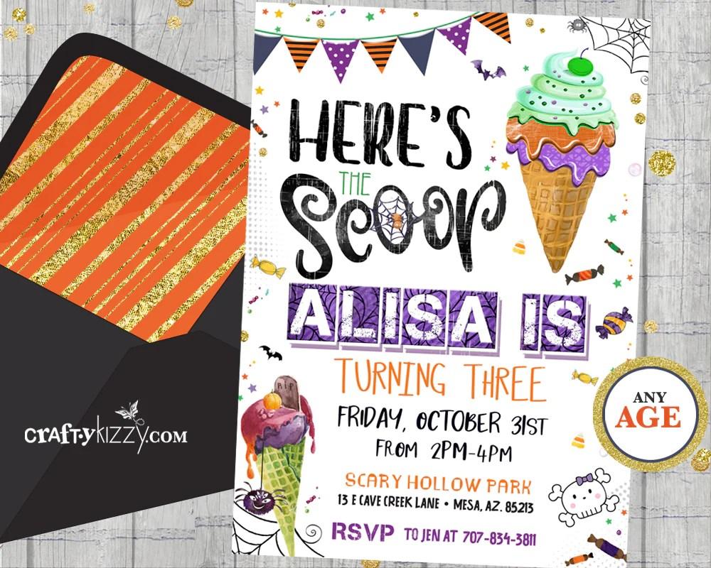 halloween ice cream birthday party invitation eye scream party invitation for kids fall birthday invitations