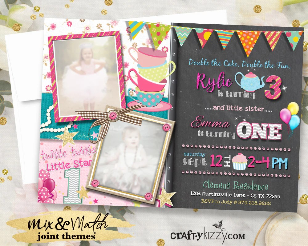 joint tea party birthday invitations joint girl twinkle twinkle first birthday invitation twin girls invitation