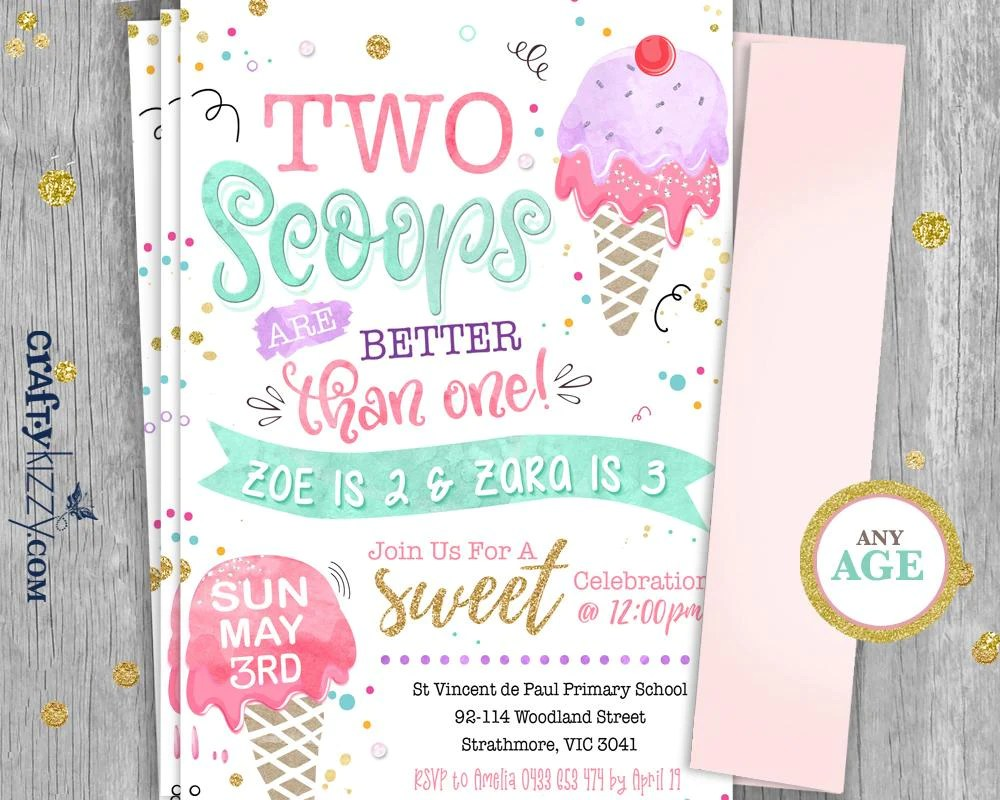 joint ice cream birthday invitations two scoops are better than one twins first birthday girl ice cream second birthday invitation