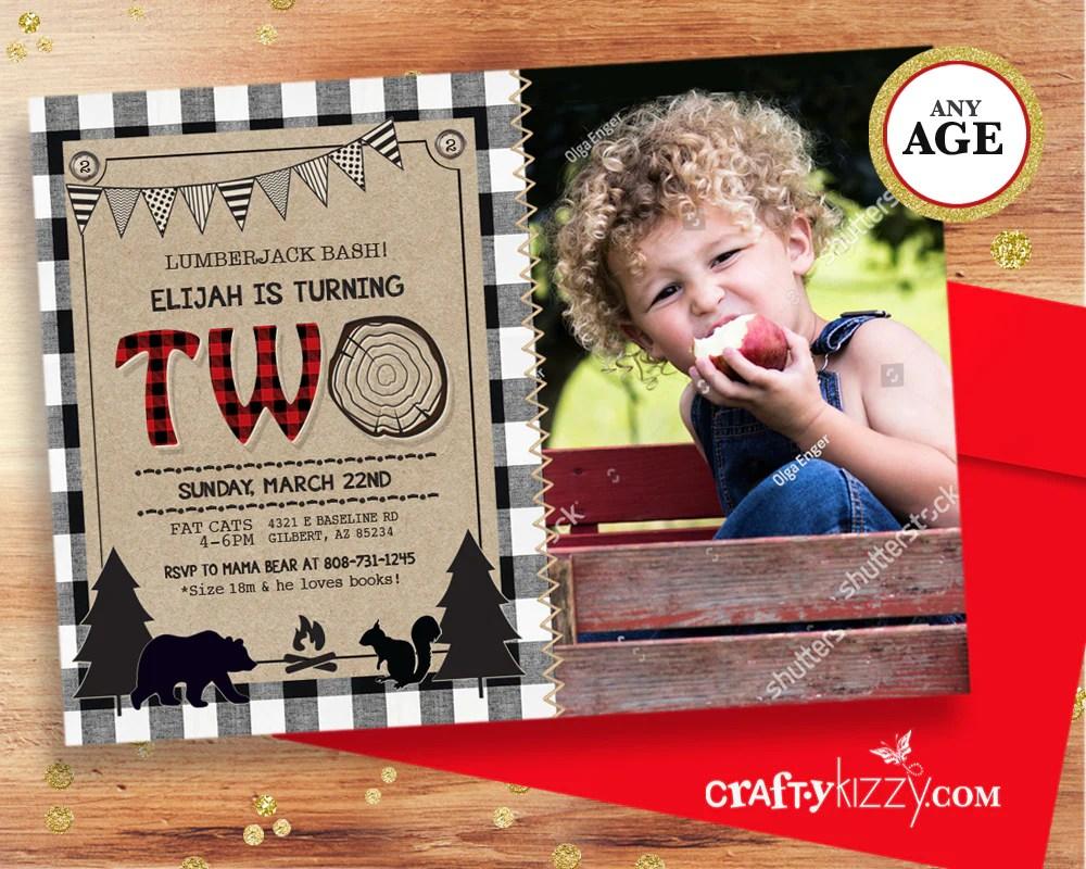 black and white lumberjack first birthday invitation rustic bear invitations boy 2nd birthday wild one red plaid