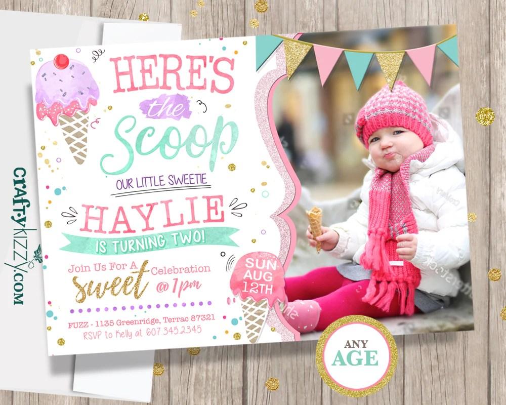 ice cream first birthday invitations twins two scoops second birthday invitation 1st 2nd birthday watercolor printable invite