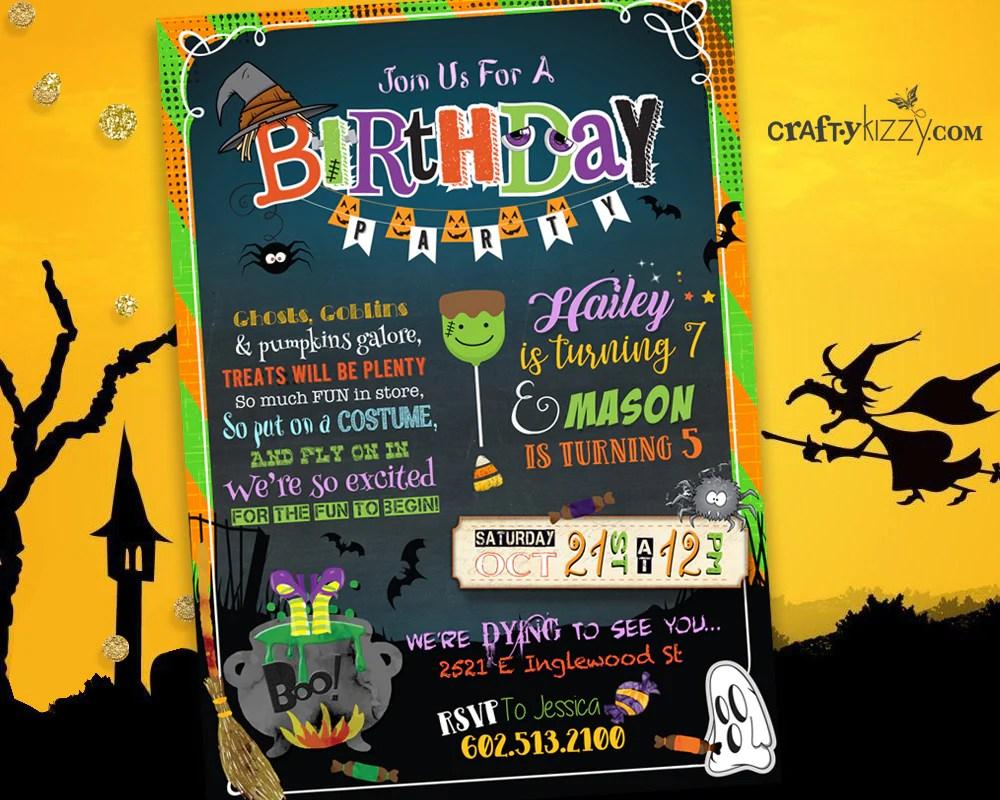 halloween joint birthday invitation sibling halloween costume party invitations kids halloween party printable
