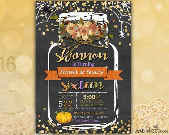 sweet sixteen fall birthday invitation halloween sweet 16 invites girls 16th birthday rustic sweet scary sixteenth birthday invitation