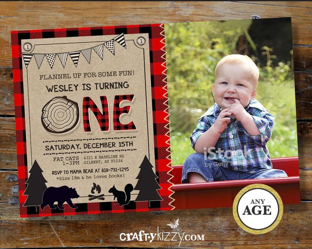 lumberjack first birthday invitation rustic woodland bear invitations boy 1st birthday wild one red plaid