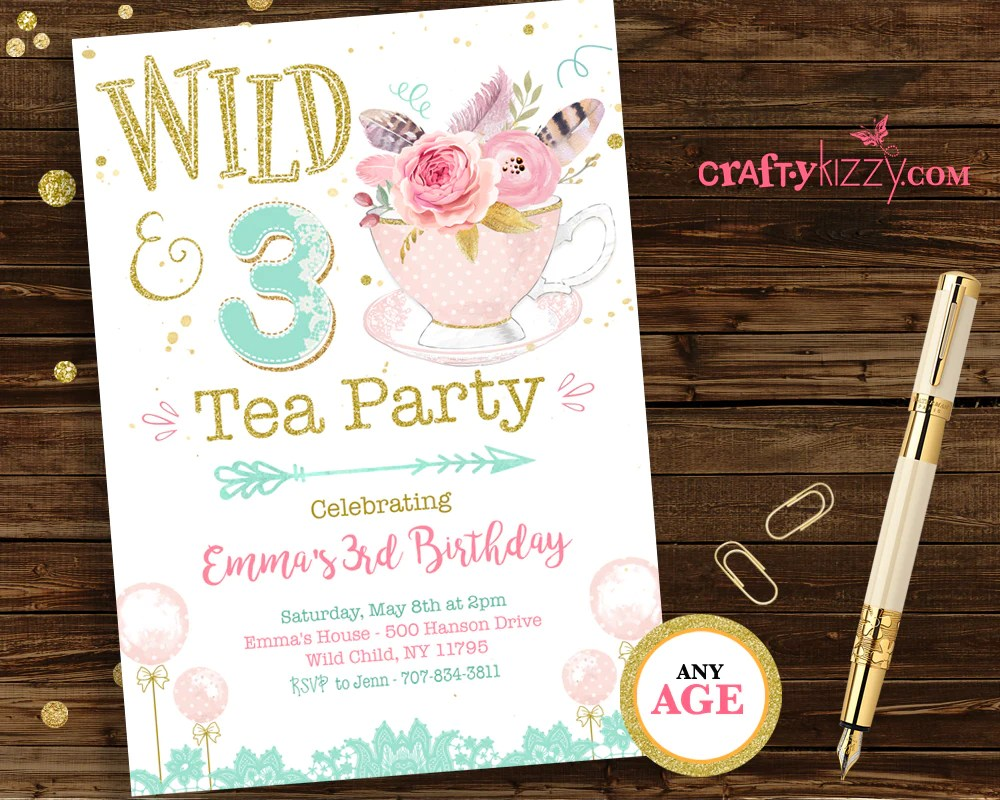 boho floral tea party birthday invitation watercolor girl wild and three birthday invite shabby chic gold printable invite