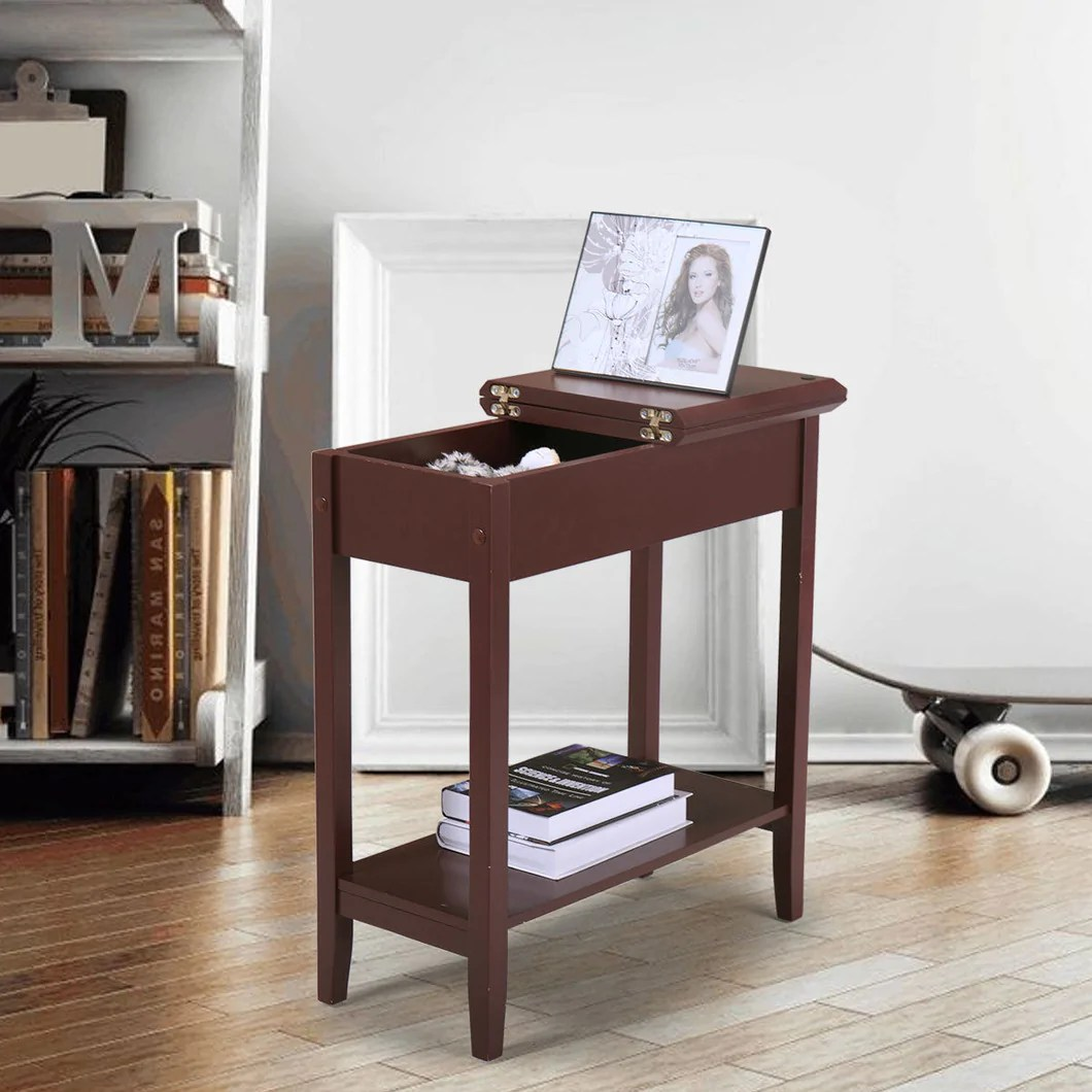 chair side table flip top 2 tier narrow end table hidden storage small spaces