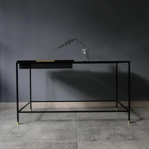 bespoke metal coffee table narrow 84x45x42cm lxhxd in black