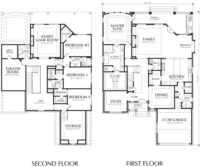 Unique Two Story House Plan, Floor Plans For Large 2 Story