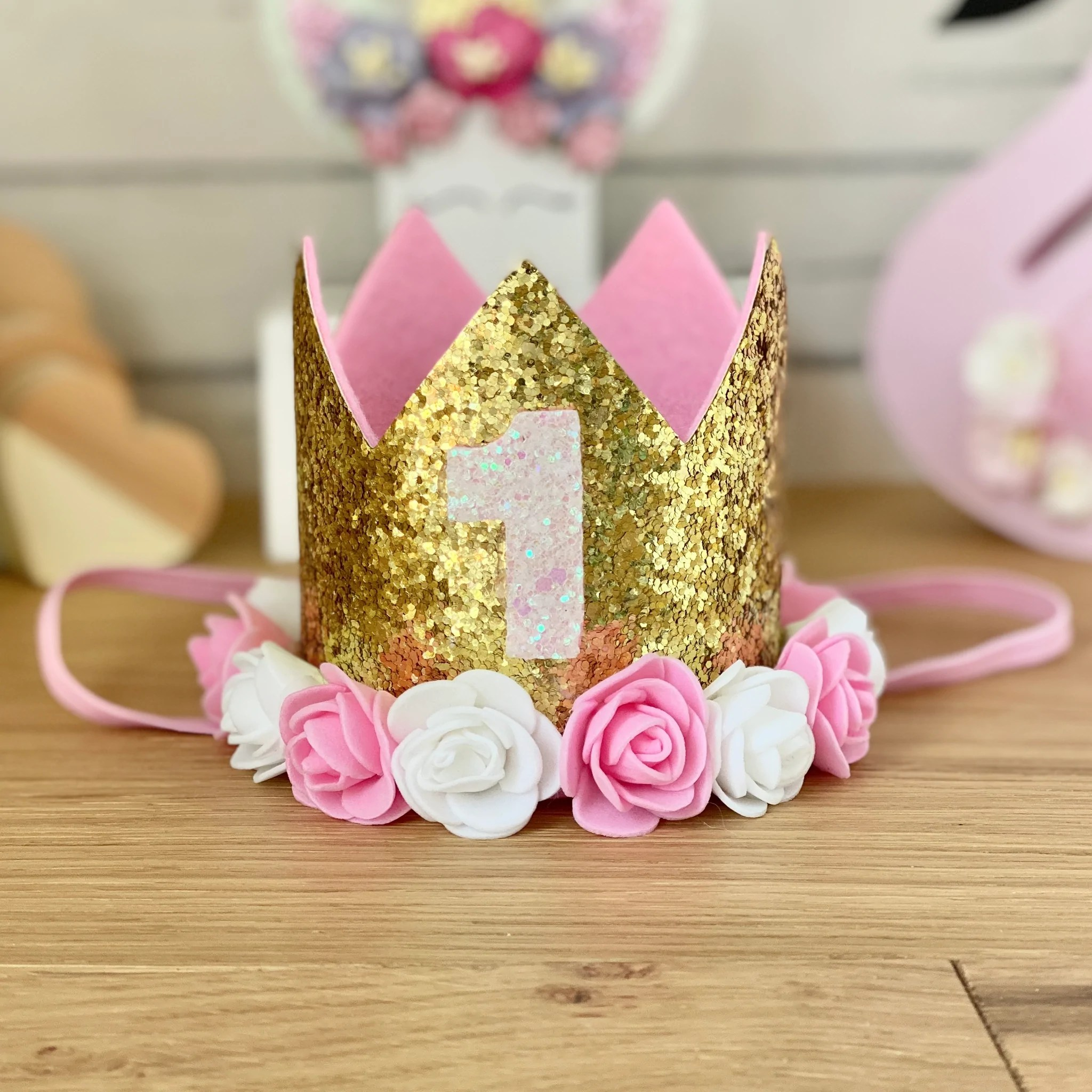1st Birthday Crown With Flowers Gold Little Girl S Things