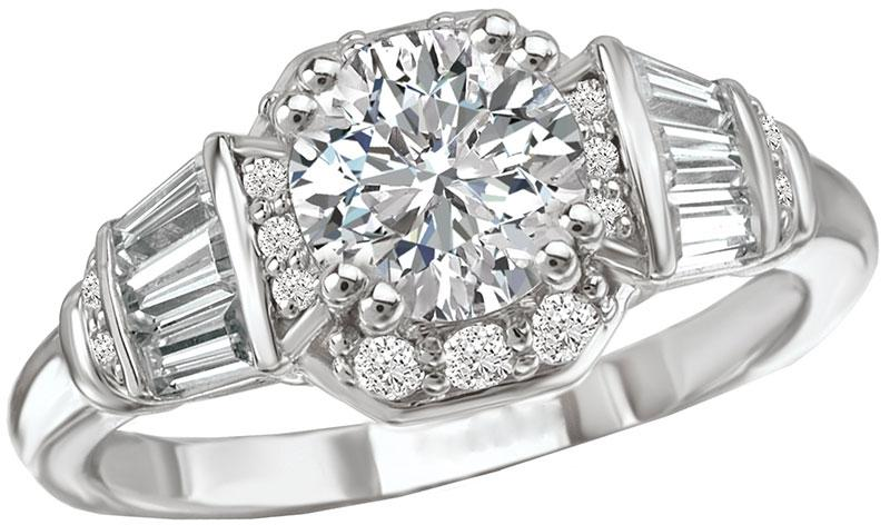 14K Art Deco Octagon Halo Diamond Engagement Ring
