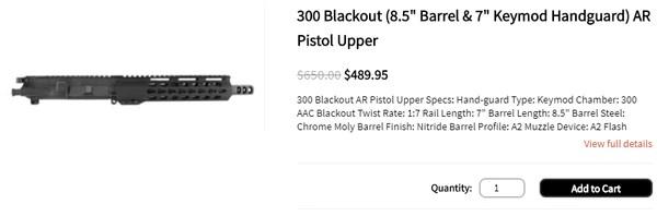 "300 Blackout (8.5"" Barrel & 7"" Keymod Handguard) AR Pistol Upper"