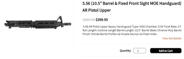 "5.56 (10.5"" Barrel & Fixed Front Sight MOE Handguard) AR Pistol Upper"