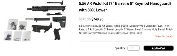 "5.56 AR Pistol Kit (7"" Barrel & 6"" Keymod Handguard) with 80% Lower"