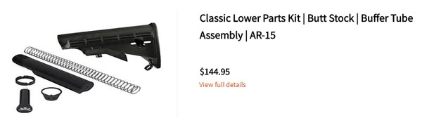 Classic Lower Parts Kit | Butt Stock | Buffer Tube Assembly | AR-15