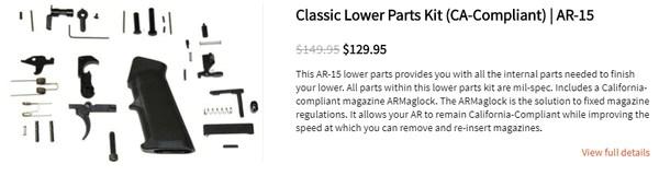 Classic Lower Parts Kit (CA-Compliant)   AR-15