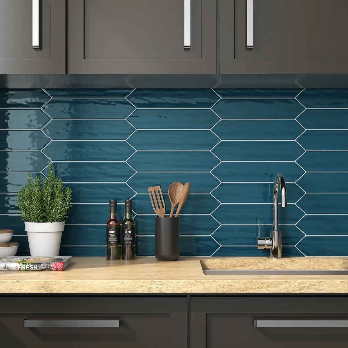 chanelle peacock green 3 x12 picket ceramic subway tile