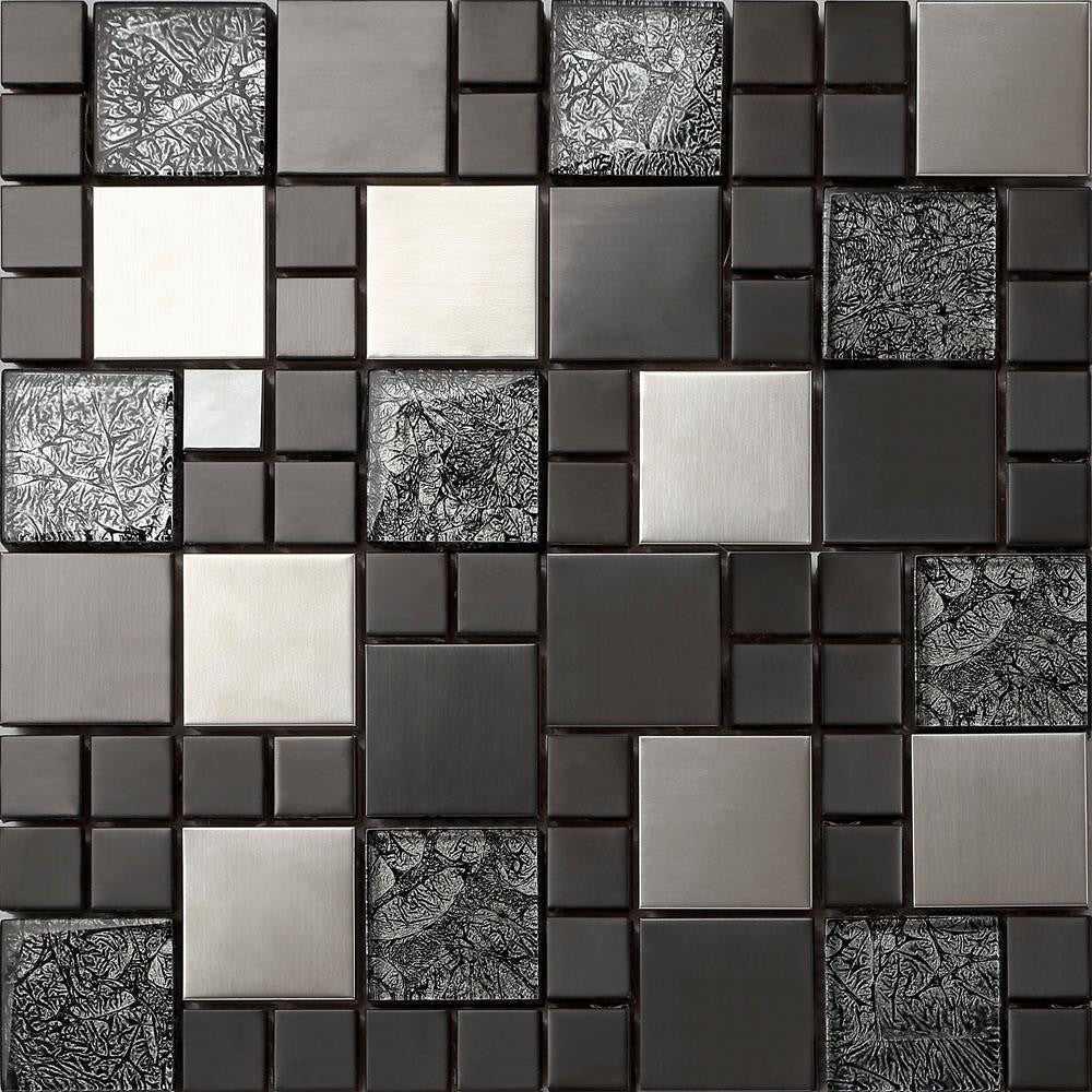 black silver metallic random mix glass mosaic tiles mt0002