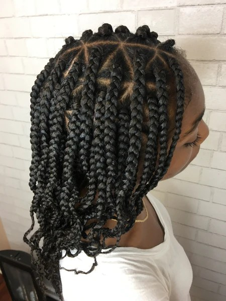 Mid Back Length Medium Box Braids With Curly Ends