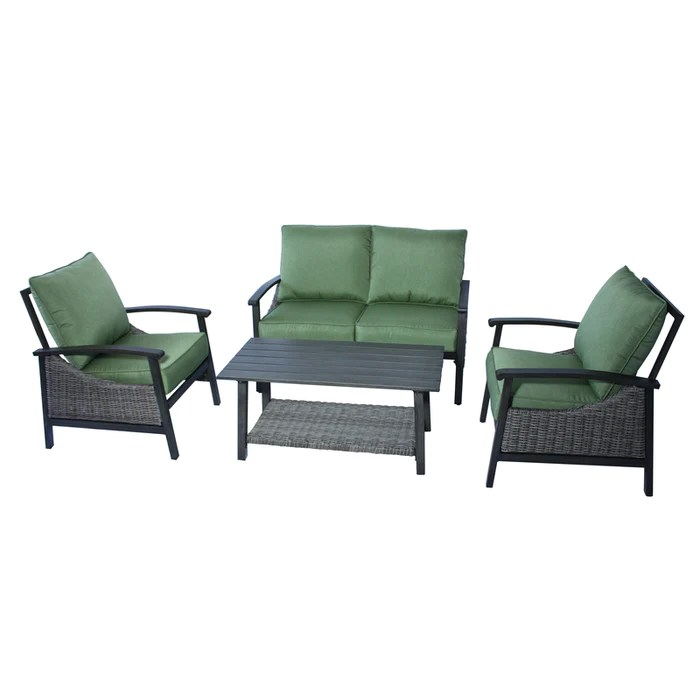 living accents rxac 1915set soho deep seating patio set green 4 pieces