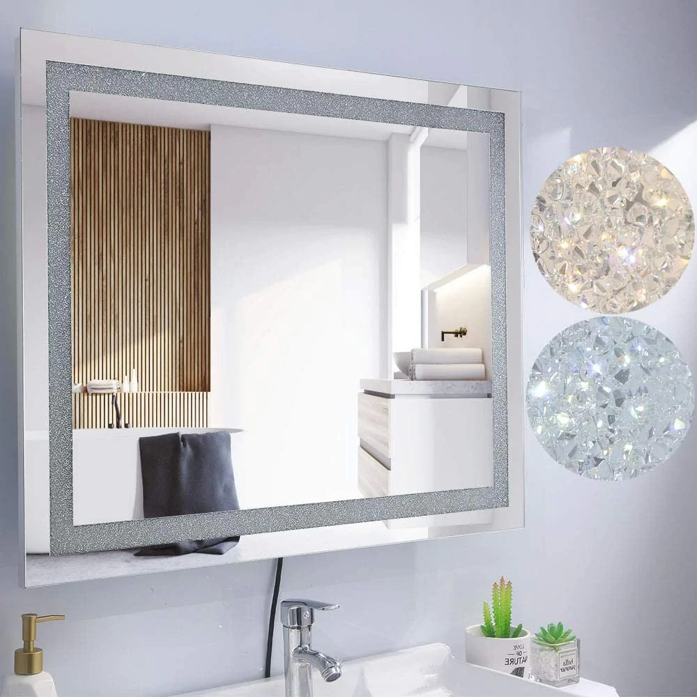 chende 32 x 24 crystal bathroom mirror with bright lights dimmable large wall mounted lighted vanity mirror for bathroom bedroom plug in or
