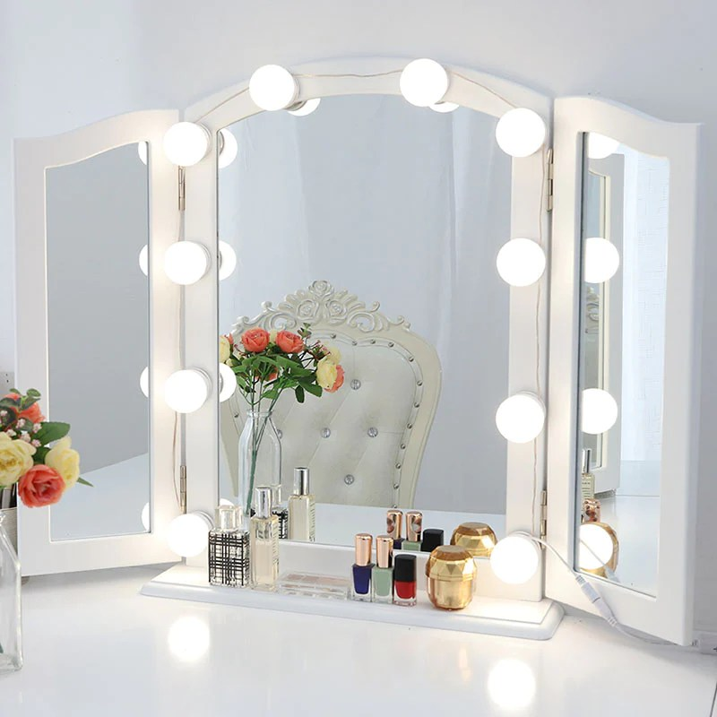 chende hollywood style led vanity mirror lights kit with dimmer wall lighting fxture for makeup