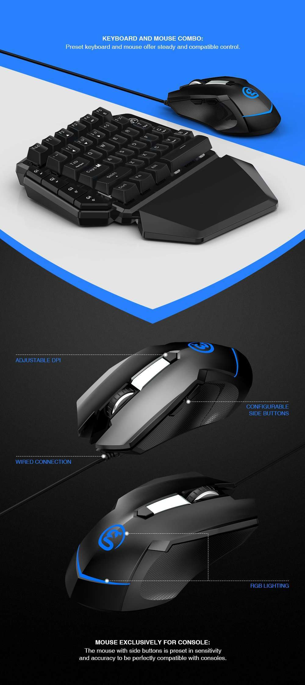 Console Keyboard and Mouse Adapter Combo