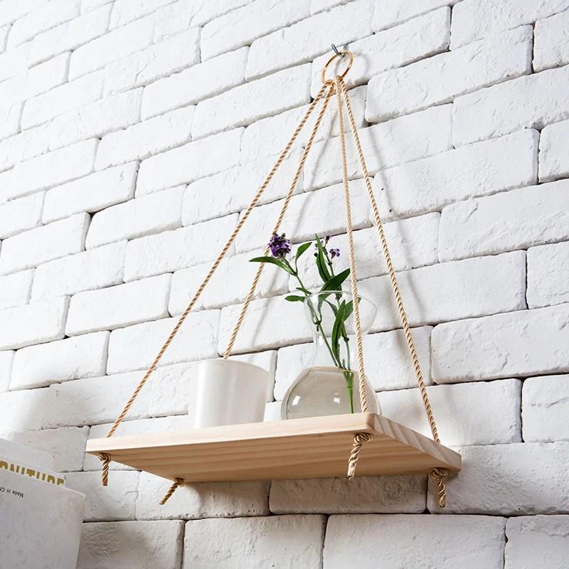 Wall Hanging Shelf Hanging Plant Stand Wall Wood Shelf Plant Pot Rack Gardenmissyou