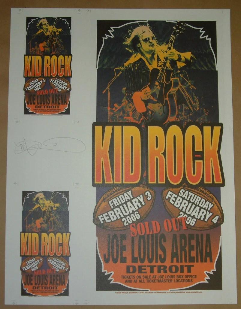 mark arminski kid rock detroit poster handbills uncut sheet signed 2006