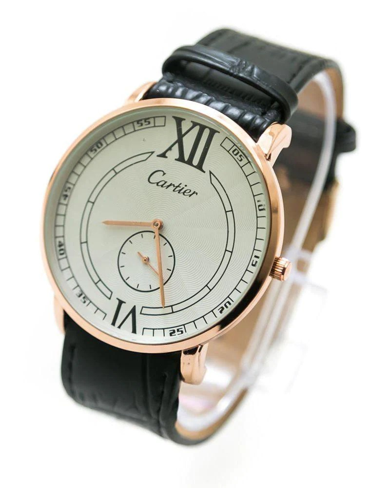 Cartier Men Watch With Rose Gold Dial   Brown Belt     WL 805   Online     Cartier Men Watch With Rose Gold Dial   Brown Belt     WL 805
