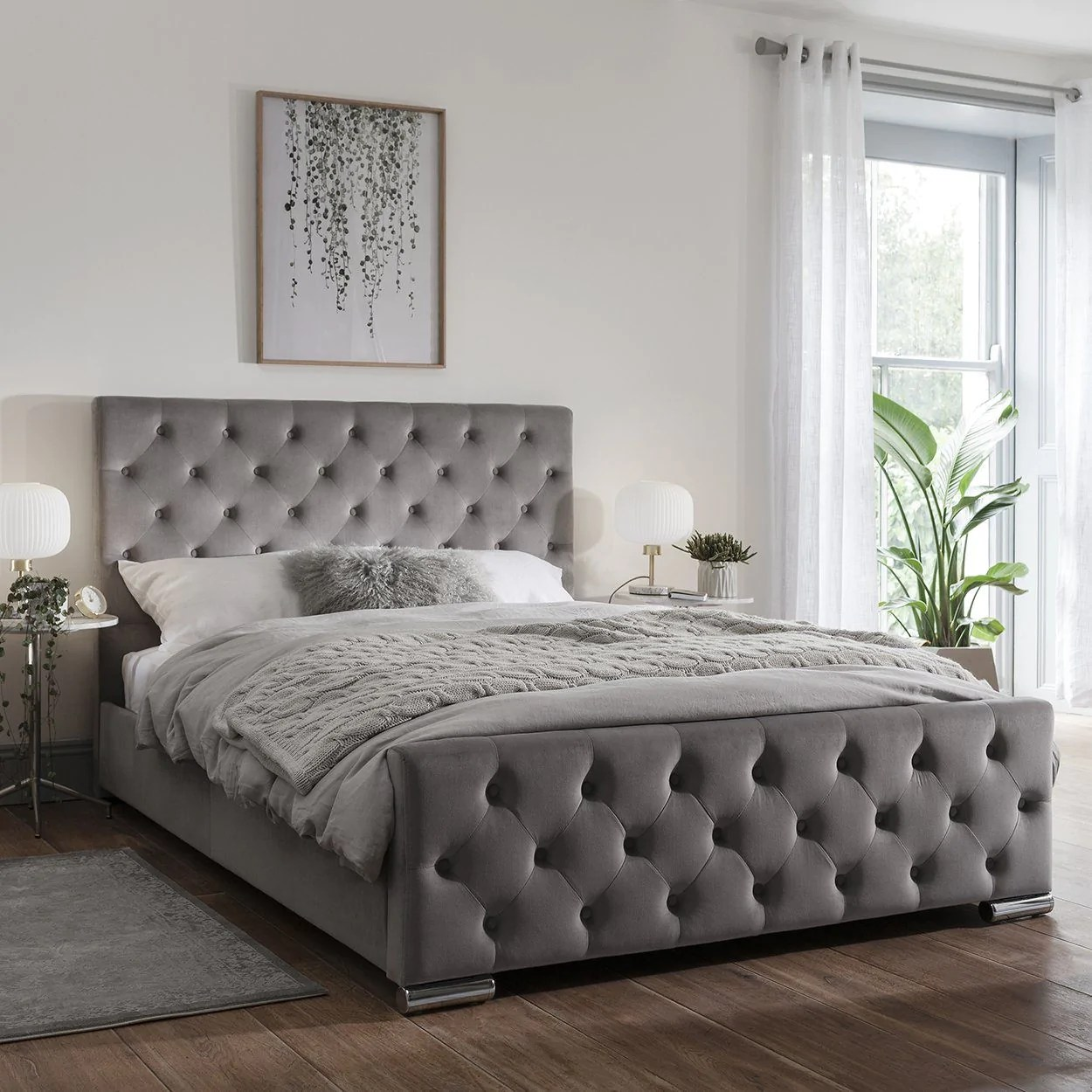 Grey Fabric King Size Bed Frame Laura James