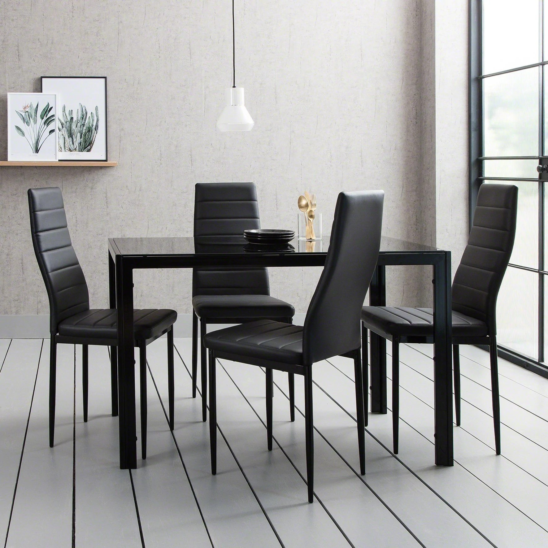 Glass Dining Table Set With 4 Black Chairs Set Delivery On Or Before Laura James