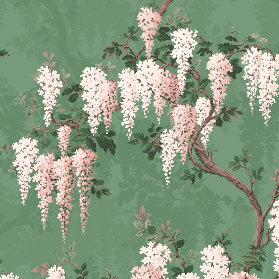 Wisteria In Botanical Green Floral Wallpaper By Woodchip Magnolia
