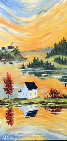 tableau maison mer et reflet