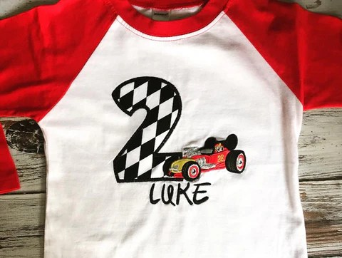Roadster Racer Mickey Mouse Raglan Birthday Shirt Babybirdscloset