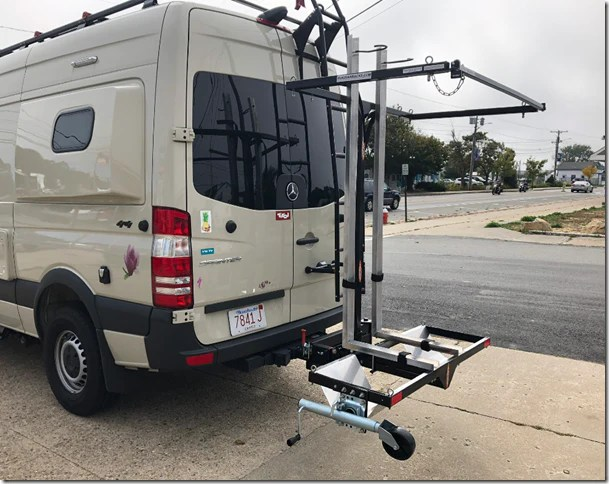 yakups model kr2b56 rack can be used with a heavy duty swing arm on rv s vans includes bike rack for kayaks 2 standard bikes no sales tax