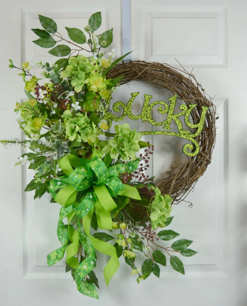 Lucky St Patricks Day Wreath Gaslight Floral Design