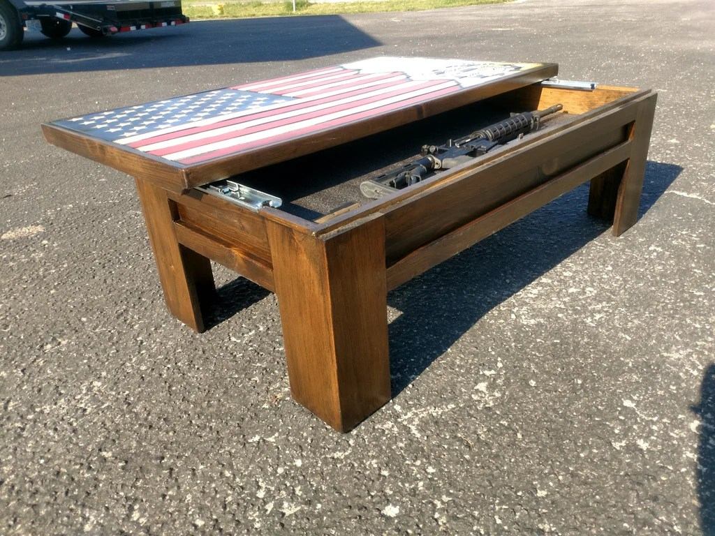 rustic american flag coffee table and