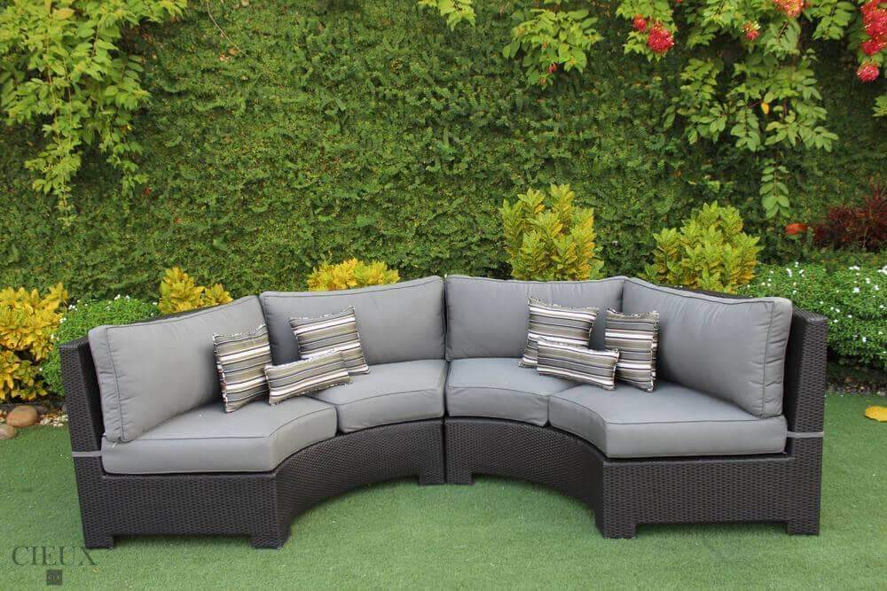 provence curved small sectional in charcoal grey performance sunbrella fabric