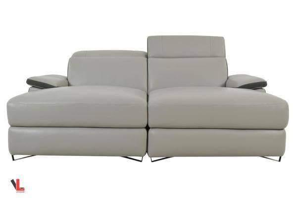 aura top grain grey leather double chaise
