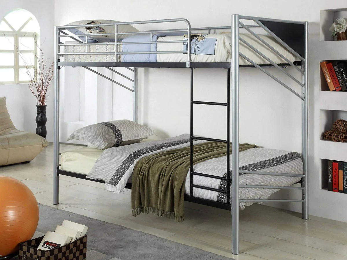 Brody Contemporary Twin Over Twin Metal Bunk Bed