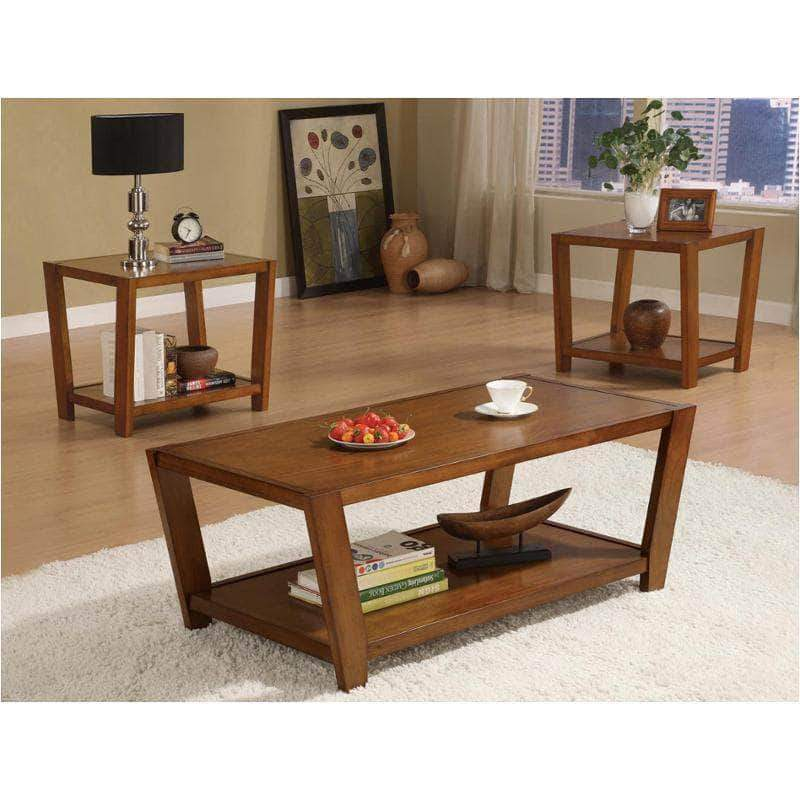 rectangular wood coffee table and end table set