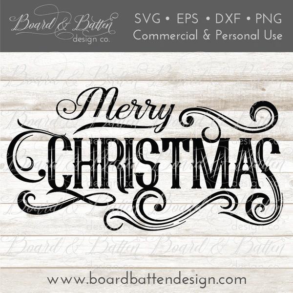 Download Vintage Label Merry Christmas SVG File - Board & Batten ...