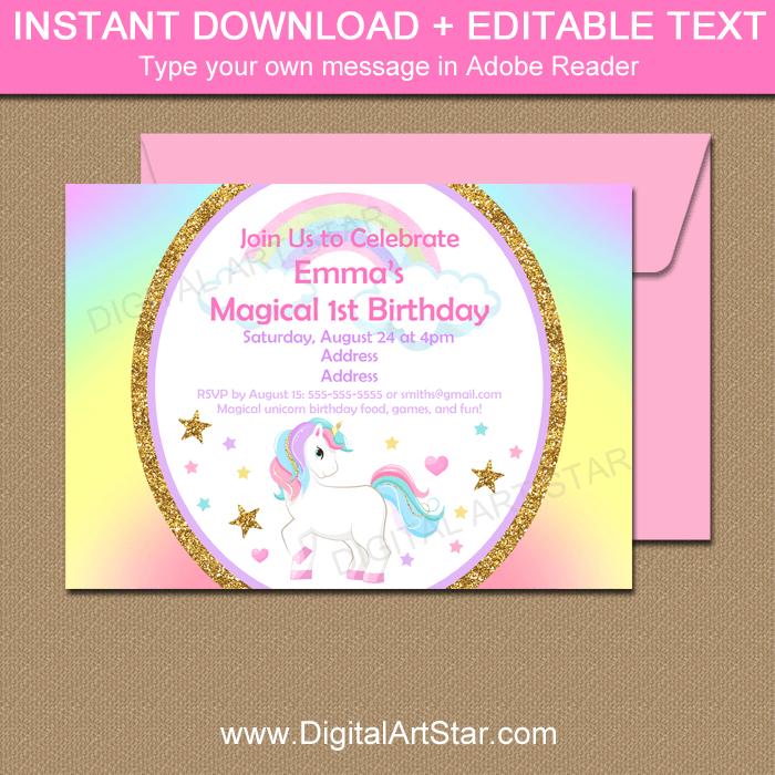 Rainbow Unicorn Birthday Party Invitation Template